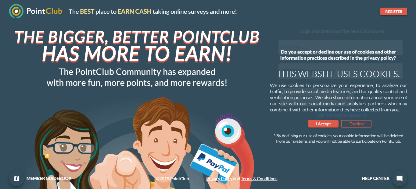 pointclub, get free paypal money fast and easy
