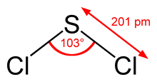 Structure of SCl2 with bond angle